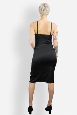 Raquel Allegra Silk Charmeuse Bra Top Dress Black