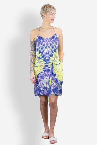 Raquel Allegra Tie Dye T-Back Spaghetti Dress Violet