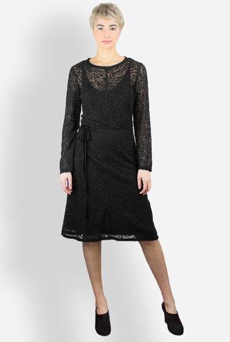 Raquel Allegra Summer Lace Bias Long Sleeve Dress Black