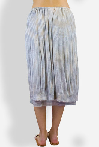 Raquel Allegra Tie Dye Deconstructed Silk and Rayon Skirt Smoky Topaz