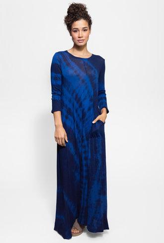 Raquel Allegra Half Sleeve Drama Maxi Dress Cobalt Tie Dye