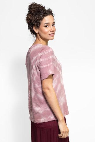 Raquel Allegra Boxy Tee Deep Rose Tie Dye