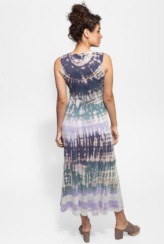 Raquel Allegra Big Sweep Midi Dress Violet Tie Dye
