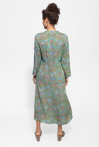 Raquel Allegra Camille Dress Green Tapestry
