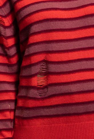 Raquel Allegra Crew Neck Sweater Tomato Stripe