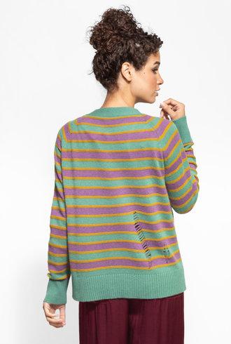 Raquel Allegra Raglan Cardigan Sweater Violet Jade Stripe