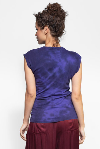 Raquel Allegra Gathered Tie Tee Purple Tie Dye