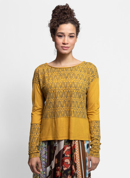 Burning Torch Chimera Long Sleeve Boat Neck Tee Mustard