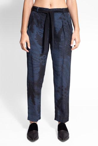 Raquel Allegra Fern Print Pleated Tie Pant