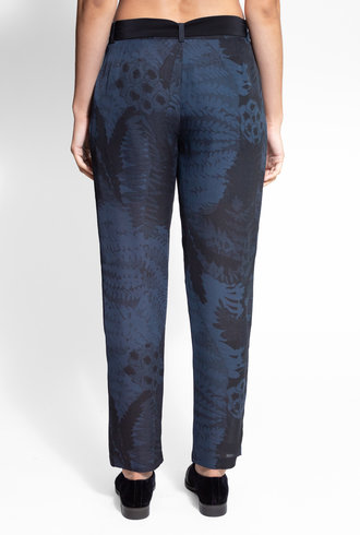 Raquel Allegra Fern Print Pleated Tie Pant