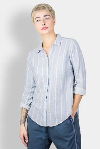 Xirena Scout Stripe Gauze Blouse Seaside Blue
