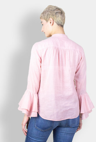 Trovata Victoria Bell Sleeve Blouse Rose