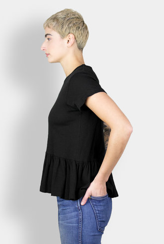 The Great The Vintage Jersey Ruffle Tee Deep Black