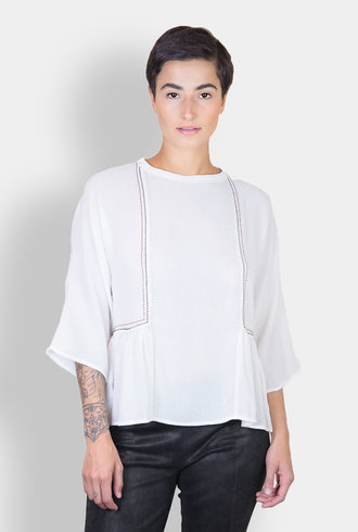 Pomandere Embroidered Blouse White