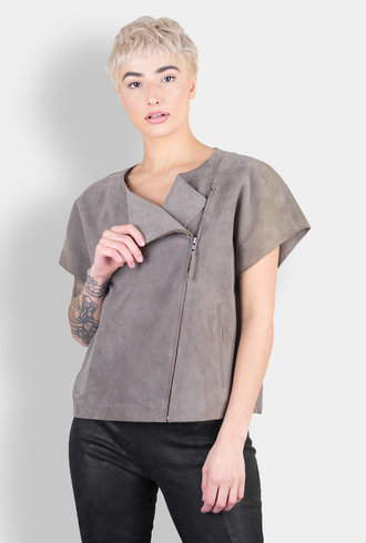 Burning Torch Short Sleeve Suede Jacket