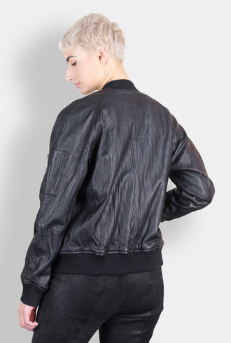 Burning Torch Washed Leather Bomber Black