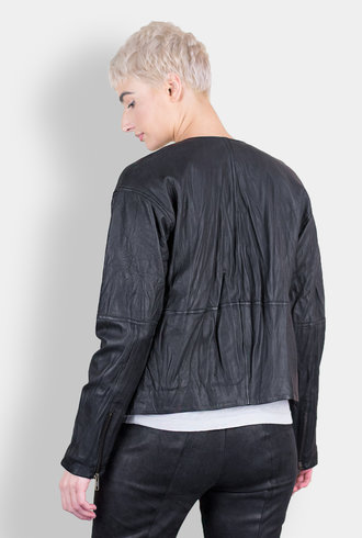 Burning Torch Washed Leather Zip Jacket