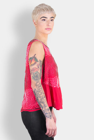 Burning Torch Tidepool Beaded Peplum Blouse Peony
