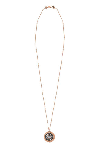 KISMET by Milka 10th Eye Eternal Vision Plate Necklace in White and Champagne Diamond