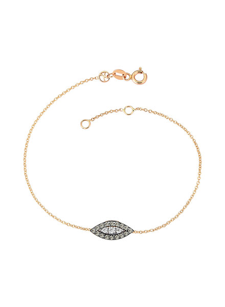 KISMET by Milka 10th Big Eye Haven Bracelet in Full Champagne and White Diamond