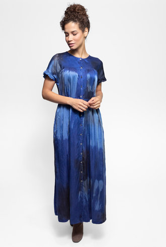 Raquel Allegra Poet Dress Sapphire Tie Dye