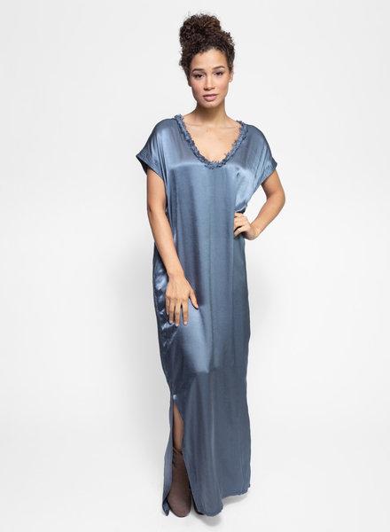 Raquel Allegra Trapunto Caftan Dress Fog Blue