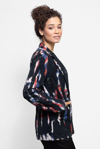 Raquel Allegra Corduroy Tailored Blazer Black Tie Dye