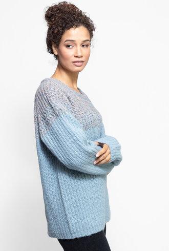 Raquel Allegra Two Tone Raglan Crew Sweater Cloud Blue