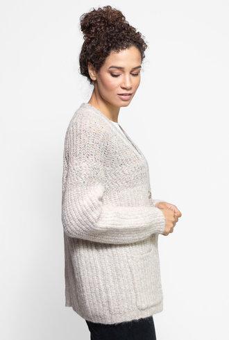 Raquel Allegra Two Tone Boxy Cardigan Sweater Oatmeal