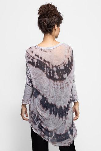 Raquel Allegra 3/4 Sleeve Cocoon Top Mercury Tie Dye