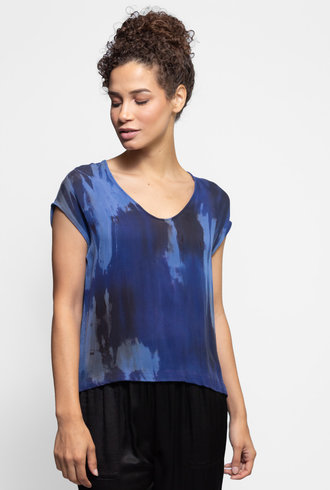 Raquel Allegra Shell Top Sapphire Tie Dye