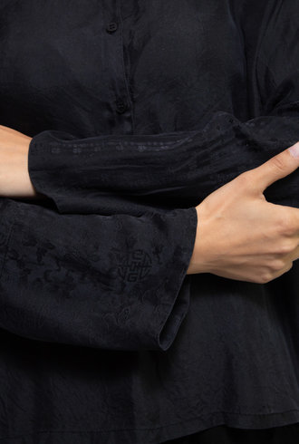 Raquel Allegra Patchwork Jagger Shirt Black