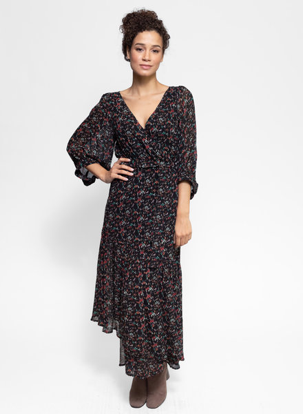 Apiece Apart Bougainvillea Wrap Dress Brush Print