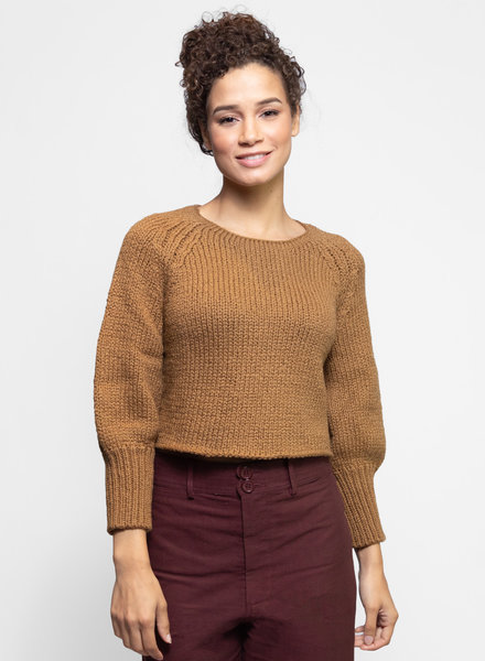Apiece Apart Lena Puff Crop Sweater Dusty Camel