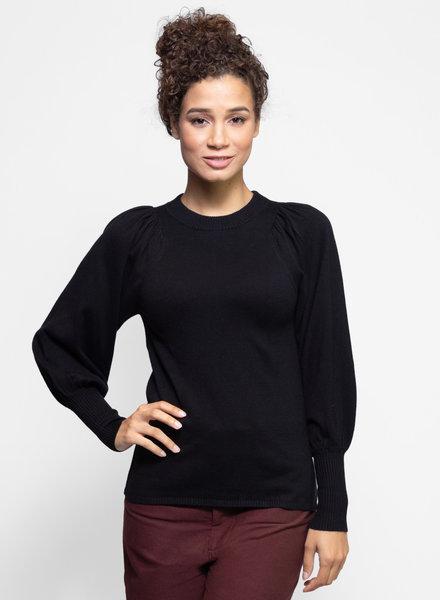 Apiece Apart Dewi Puff Sleeve Crew Neck Sweater Black