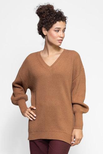 Apiece Apart Napoli Oversized V-Neck Sweater Deep Camel