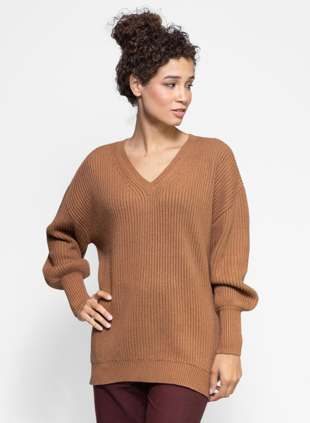 Apiece Apart Napoli Oversized V-Neck Sweater Deep Camel