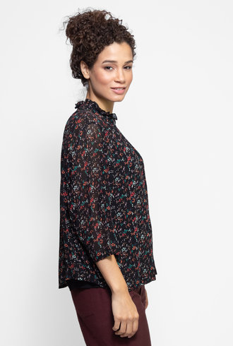 Apiece Apart Shirred Zadar Top Brush Print Black Multi