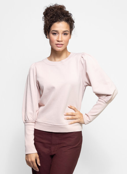 Apiece Apart Olimpio Puff Sleeve Sweatshirt Rose