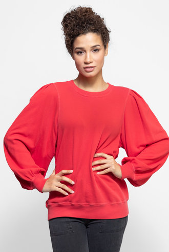 The Great The Pleat Sleeve Sweatshirt Candy Apple