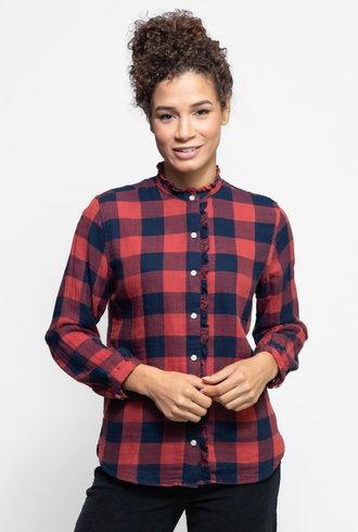 Trovata Helena Shirt Redwood Navy Buffalo Check