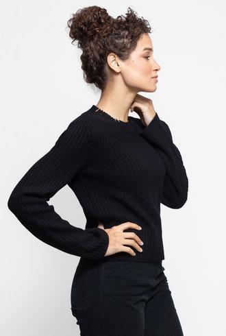 Inhabit Deconstructed Ribbed Sweater Black