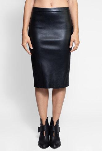 Lamarque Avana Leather Pencil Skirt Black