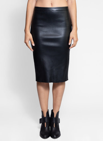 Lamarque Avana Leather Pencil Skirt Black