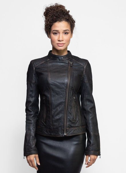 Lamarque Chelsea Leather Jacket Vintage Brown
