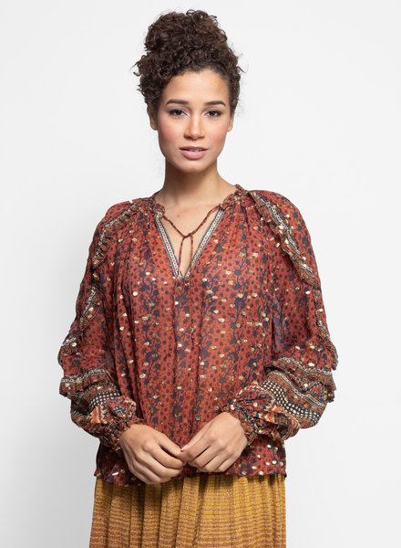 Ulla Johnson Calista Blouse Brick