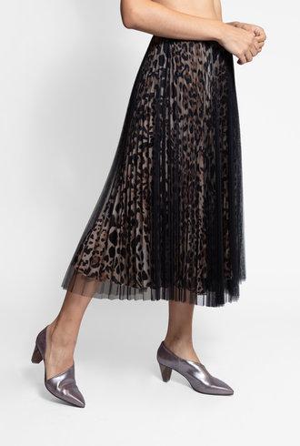 Loyd/Ford Two Layer Mesh Skirt Silk Animal Print Black