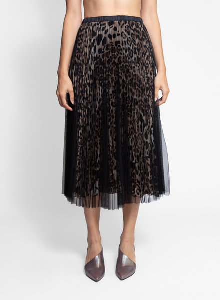 Loyd/Ford Two Layer Mesh Skirt Silk Animal Print Black