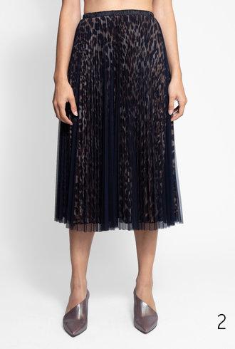 Loyd/Ford Two Layer Mesh Skirt Animal Print Navy