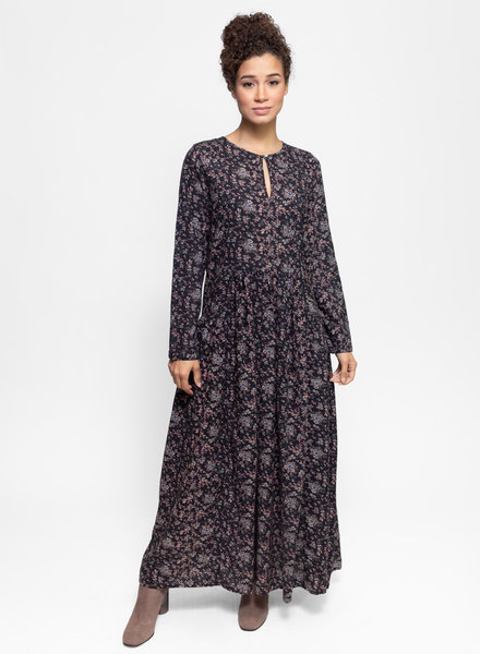 Local Blanca Dress Black Flowers